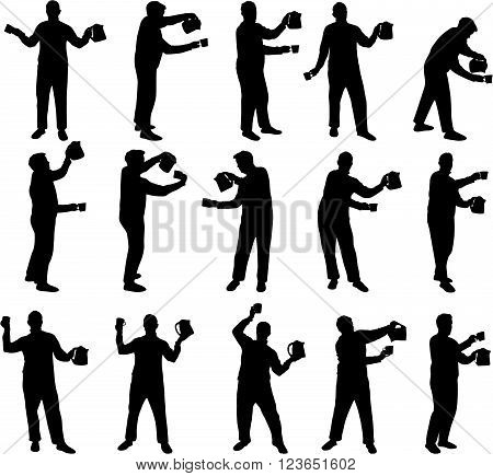 man with a cup and bicker black vector silhouettes