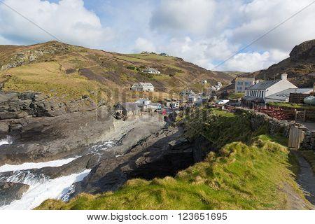 Trebarwith Cornwall England UK coast village between Tintagel and Port Isaac