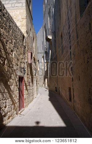 The narrow streets of Mdina city, Malta