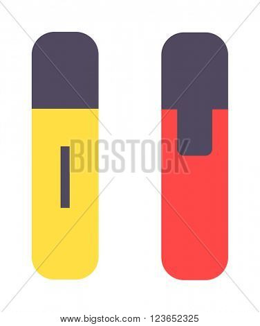 Colored marker  highlighters vector isolated. Marker on white background. Set of colored engineering office marker pens in flat cartoon design style. Vector multi-colored markers