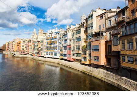 Onyar river in Girona, Spain.