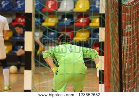 Rear View Of Futsal Goalkeeper
