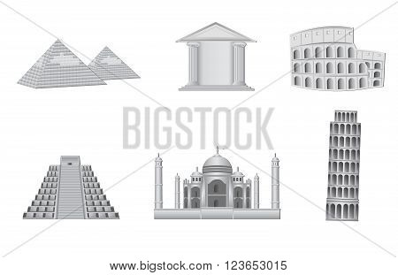 world monuments vector illustration detailed and isolated