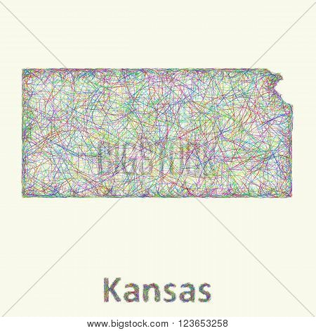 Kansas line art map from colorful curved lines