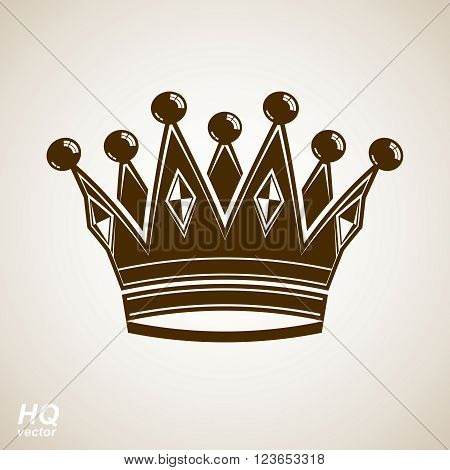 Vector vintage crown luxury ornate coronet illustration. Royal luxury design element decorative regal icon.