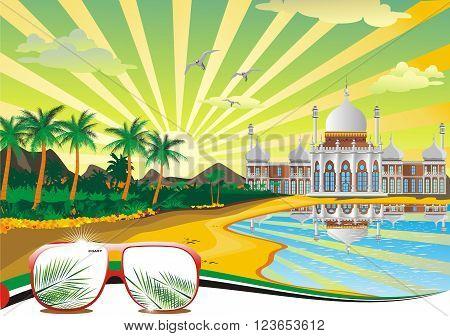 Arab beach. Arabic Palace on the coast. Summer landscape. Vector illustration