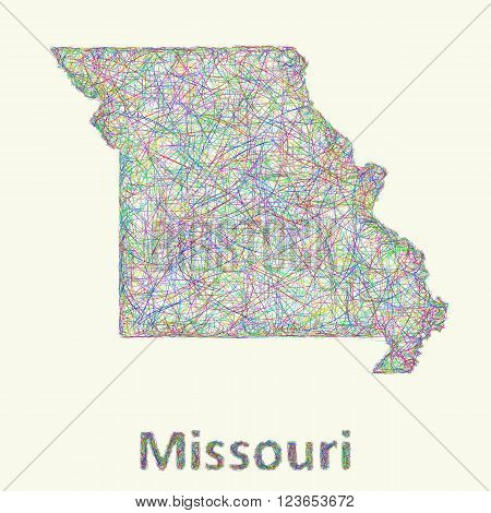 Missouri line art map from colorful curved lines