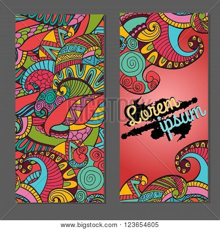 Business card template for graphic designer or creative agency, vector illustration. Abstract vector decorative floral backgrounds.