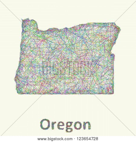 Oregon line art map from colorful curved lines