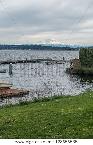 Majestic Mount Rainier can be seen in the distance across Lake Washington in Seattle.