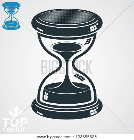 Retro dimensional vector sand-glass illustration simple additional version. Old-fashioned decorative 3d hourglass. Vintage clock with water drops. Time is running out conceptual icon.