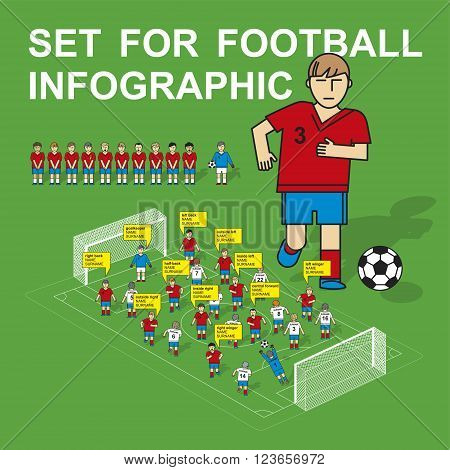 Set for football infographic. The national football team. Flat design, linear design.