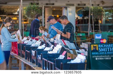 LONDON, UK - SEPTEMBER 10, 2015:  People looking for book bargain in The Southbank Centre's Book Market