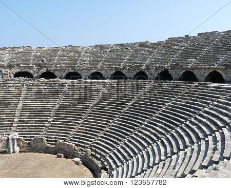 The ancient roman Side Amphitheatre Side Turkey