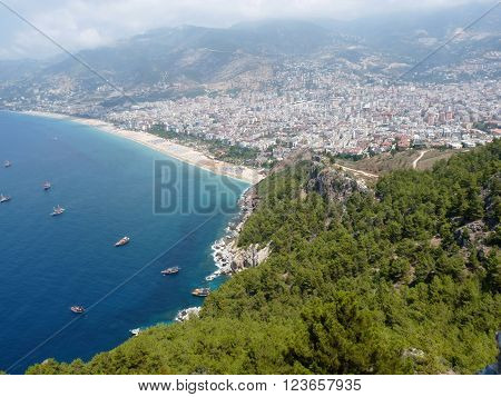 Sea beach and the city of Alanya view from the Alanya castle Turkey