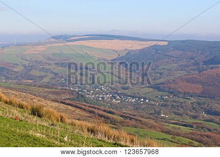 looking down on a rural valley in Wales