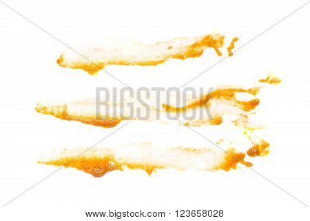 Abstract blurred stripes of vegetable squash caviar isolated on white background