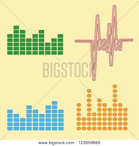 Vector sound waves set. Audio equalizer technology, pulse musical. Vector illustration of music pattern and texture. Colorful retro set of four equalizers. EPS10