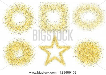 Set of six golden sand glitter effect good for banners, greeting carts. Set of star, square and circles. EPS10