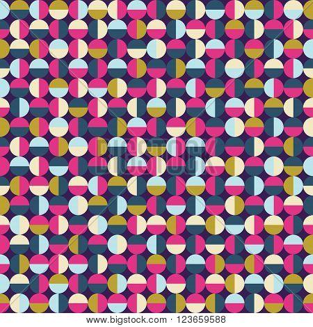 Pink navy sienna dark seamless round pattern background or texture.