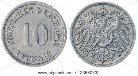10 Pfennig 1912 Coin Isolated On White Background, Germany