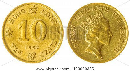10 Cents 1992 Coin Isolated On White Background, Hong Kong