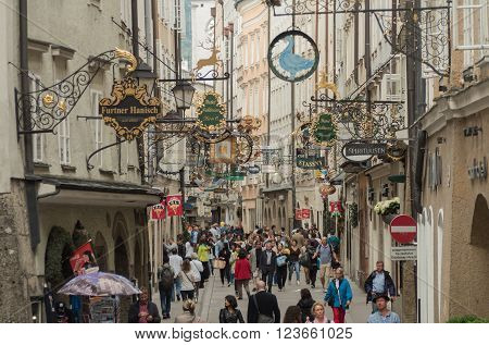 SALZBURG AUSTRIA JUNE 27: insight into the street full of different shops Salzburg 2015