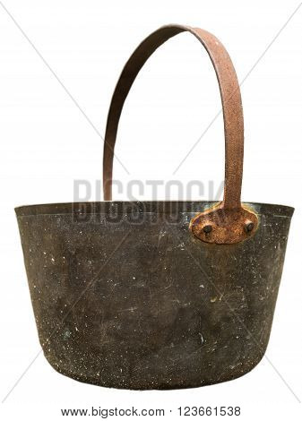 An Isolated Vintage Brass Or Bronze Pail Or Bucket