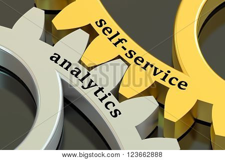 Self-service Analytics concept on the gearwheels 3D rendering