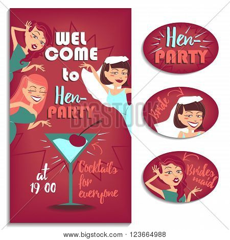 Vector illustration for your design. Three girls celebrating hen party.