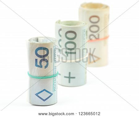 Standing Rolls Of Polish Banknotes