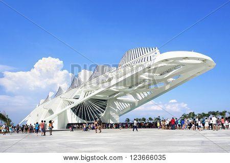 Rio de Janeiro, Brazil - December 19, 2015: People at the Museum of Tomorrow (Museu do Amanha), designed by Spanish architect Santiago Calatrava, in Rio de Janeiro, Brazil.