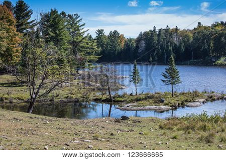 The charming small island on the lake. Indian summer in Canada