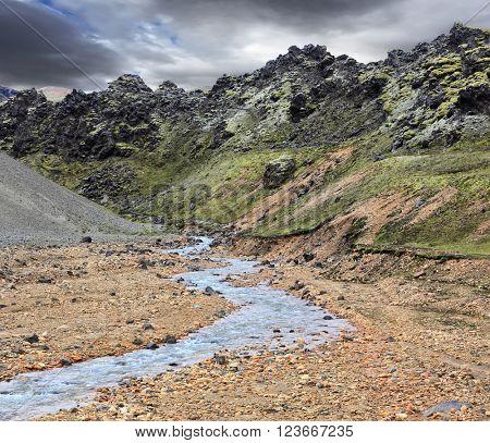 Gorge Valley Landmannalaugar.  The gorge runs abounding stream