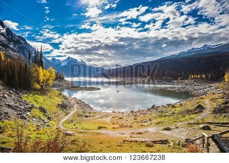 The picturesque Medicin Lake, has strongly shoaled in the fall. Jasper national park, Canada