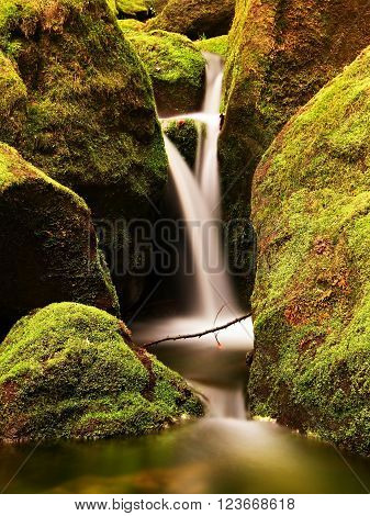 Cascade on small mountain stream. Cold crystal water is falling over mossy boulders into small pool.