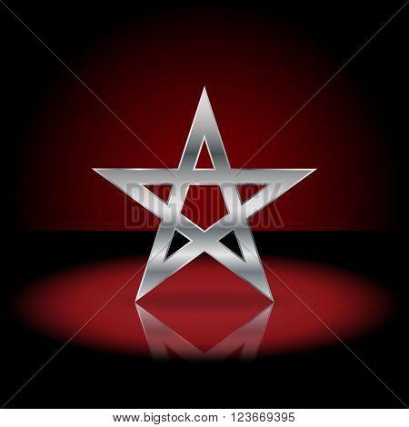 Silver pentagram symbol. Sign of the pentagram in the dark red background.