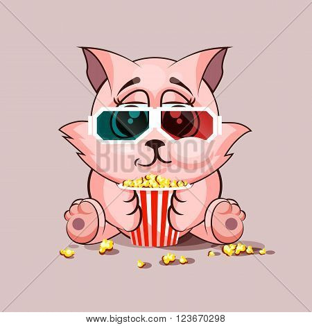 Vector Stock Illustration Emoji character cartoon cat chewing popcorn, watching movie in 3D glasses sticker emoticon for site, infographic, video, animation, website, e-mail, newsletter, report, comic