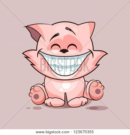 Vector Stock Illustration isolated Emoji character cartoon cat with a huge smile from ear to ear sticker emoticon for site, infographics, video, animation, website, e-mail, newsletter, reports, comics