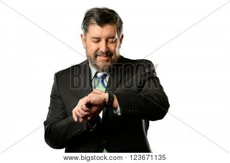 Portrait of Hispanic businessman using smart watch isolated over white background