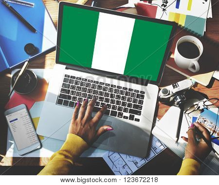 Nigeria National Flag Business Communication Connection Concept