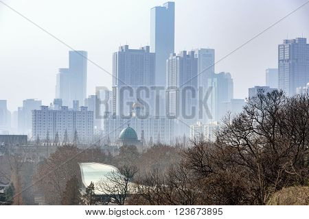 Block of building on the skyline of Nanjing city China.