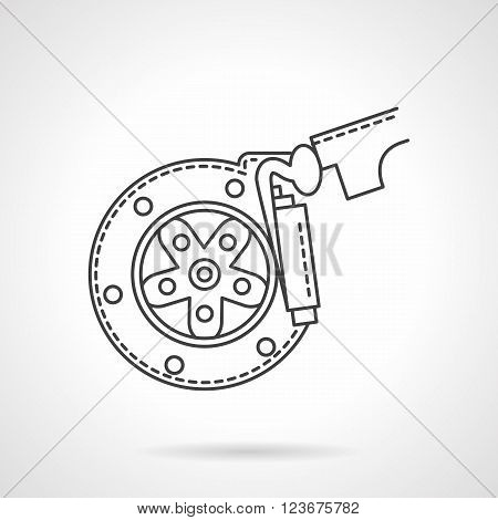 Automobile braking system. Wheel disk with brake pads. Repair service for car and spare parts. Flat line style vector icon. Single design element for website, business.