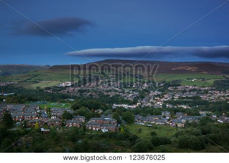 A rural town in the British countryside near Peak district in England.