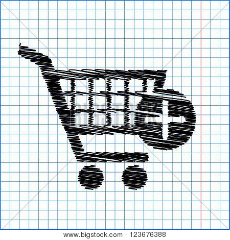 Shopping Cart and add Mark Icon. Flat style icon with scribble effect on school paper.