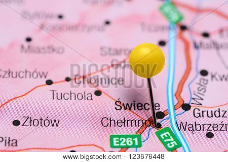 Photo of pinned Chelmno on a map of Poland. May be used as illustration for traveling theme.