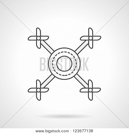 Abstract drone a top view. Remote control air mobile vehicles. UAV. Flat line style vector icon. Single design element for website, business.