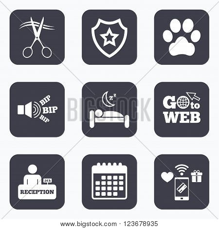 Mobile payments, wifi and calendar icons. Hotel services icons. With pets allowed in room signs. Hairdresser or barbershop symbol. Reception registration table. Quiet sleep. Go to web symbol.