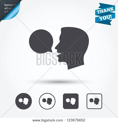 Talk or speak icon. Speech bubble symbol. Human talking sign. Circle and square buttons. Flat design set. Thank you ribbon.