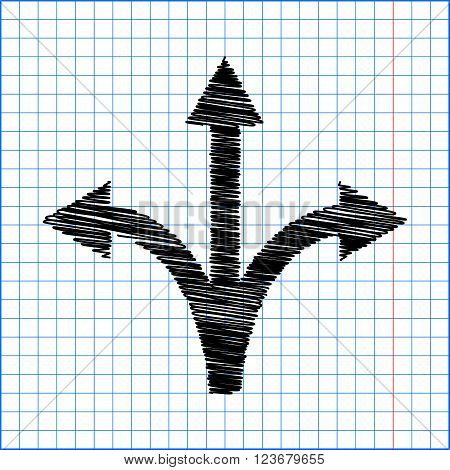Three-way direction arrow sign. Flat style icon with scribble effect on school paper.